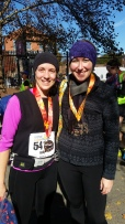 Kelly and Paige after Kelly triumphantly PR'd her marathon